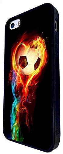 1484 - Cool Fun Trendy Sports Goal Soccer Football Fire Win Champions Design iphone SE - 2016 Coque Fashion Trend Case Coque Protection Cover plastique et métal - Noir