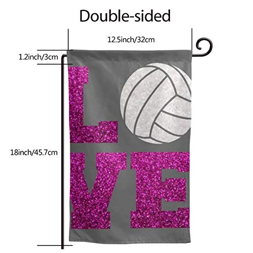 (Garden Flag Banner 12.5 X 18 Inch Glitter Volleyball Love Decorative Garden Flag for Outdoor Lawn and Garden Home D¨¦cor Double-Sided)