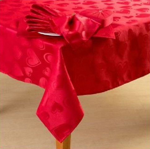 Romantic Happy Valentines Day Red Hearts Fabric Tablecloth 60