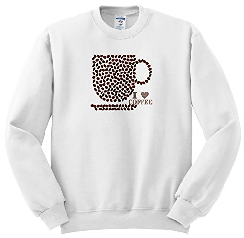 Price comparison product image 3dRose Abstract Patterns - Image Of Coffee Bean Cup and I Heart Coffee - Sweatshirts - Youth Sweatshirt Small(6-8) (SS_279933_10)