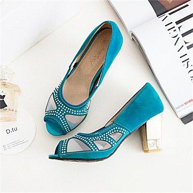 LvYuan Tacón Robusto-Confort Innovador Zapatos del club-Sandalias-Boda Vestido Informal-Vellón Materiales Personalizados-Negro Azul Rojo Blue