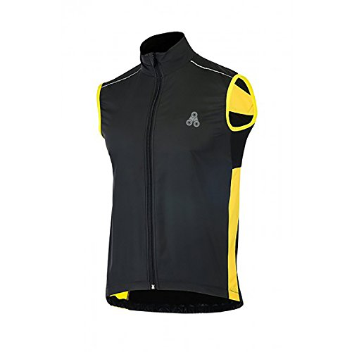 Cycling Wind Vest (URBAN CYCLING WINDBREAKER VEST - Windproof and Reflective sleeveless jacket vest gilet for road cycling, MTB, or bike commuting (Black/Yellow, XX-Large 47