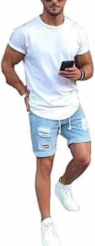 dd79e895979e Men s Vintage Distressed Straight Slim Fit Ripped Denim Jeans Shorts