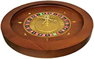 MRC Poker 20-Inch Deluxe Wooden Roulette Wheel with Roulette Balls
