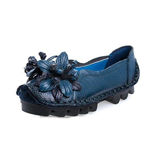 Flowers Round Blue GIY Casual Retro Loafer Womens Loafers Moccasins Slip Toe On Classic Comfort Dress Shoes BxOTIqxwan