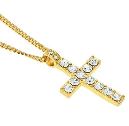 Deals Unisex Hip Hop Men Stainless Steel Cross Pendant Necklace Jewelry Boy&Men Gift by ZYooh (Gold)