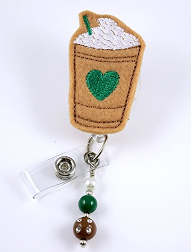 Iced Coffee with Heart - Nurse Badge Reel - Retractable ID Badge Holder - Nurse Badge - Badge Clip - Badge Reels - Pediatric - RN - Name Badge Holder