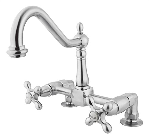 Kingston Brass KS1141AX Heritage Deck Mount Kitchen Faucet with 2-Inch (American Brass Faucets)