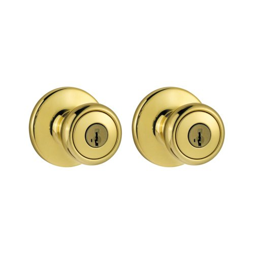 Kwikset 243T 3 CP Single Cylinder Project Pack with Tylo Knob in Polished Brass - Cp Tylo Entry Knob