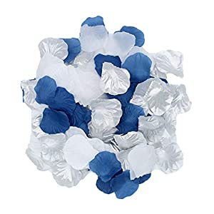 2NDTONONE 900Pcs Royal Blue Silver White Silk Rose Petals Artificial Flower Petals Table Scatter Aisle Runner Wedding Bridal Shower Graduation Bachelorette Celebrate Boy Baby Shower Decoration 34
