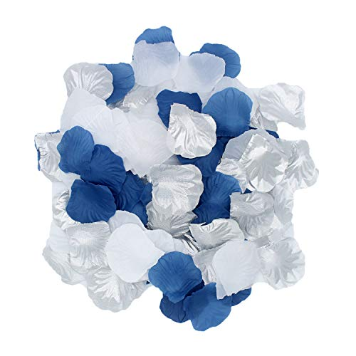 2NDTONONE 900Pcs Royal Blue Silver White Silk Rose Petals Artificial Flower Petals Table Scatter Aisle Runner Wedding Bridal Shower Graduation Bachelorette Celebrate Boy Baby Shower Decoration -
