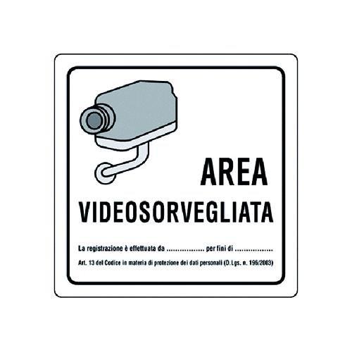 Cartello Area Videosorvegliata In Alluminio.