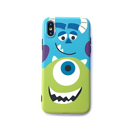 Ultra Slim Fit Smooth Soft TPU Monsters University Case for iPhone X iPhoneX Sleek Cartoon Protective Shock Scratch Resistant Cool Fun Girls Men Boys Teens Kids (Mike & Sulley)]()