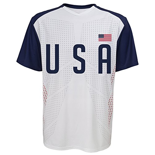 Soccer International Jersey (OuterStuff International Soccer U.S.A. Jersey Top, Large, White)