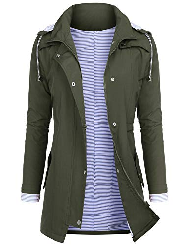 AUDIANO Rain Jackets Women Lightweight Raincoat Striped Lined Waterproof Windbreaker Active Outdoor Hooded Trench Coats Army Green XXL