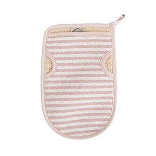 [Pink] Stripe Bath Body Brush Durable Bath Mitt Hanging Bath Glove Back Use by Panda Superstore