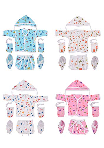 Toddylon® Unisex Clothing Set of Baby Jhabla, Nappies, Cap, Mitten & Booties- Pack of 4 (0-6 Months) (Assorted)