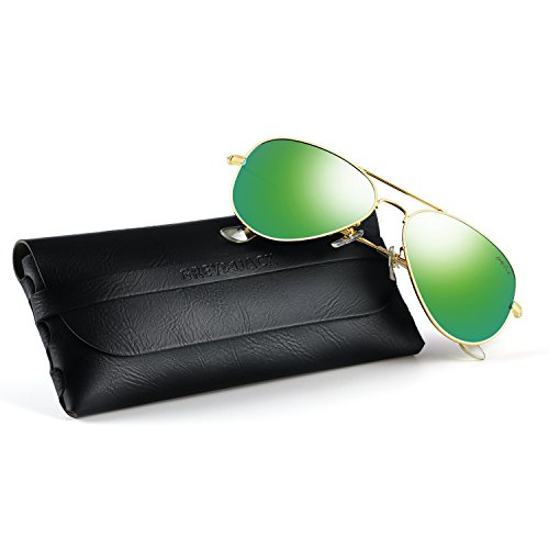 GREY JACK Polarized Classic Aviator Sunglasses Lightweight Style for Men Women Gold Frame Green Lens Medium ()
