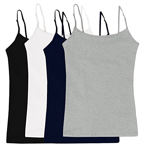Women's Camisole Built-in Shelf Bra Adjustable Spaghetti Straps Tank Top Pack 4 Pk Black   White   Navy   Heather Grey Large