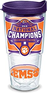 Tervis 1322768 NCAA Clemson Tigers 2018 National Champs Insulated Tumbler with Lid, 24 oz, Clear
