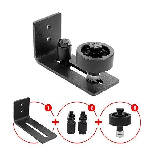 Barn Door Floor Guide Stay Roller - Black Powder Coated Adjustable Wall Mount Guide with up to 8 Different Setups - Perfect Fit for ALL Barn Doors by BelVIST