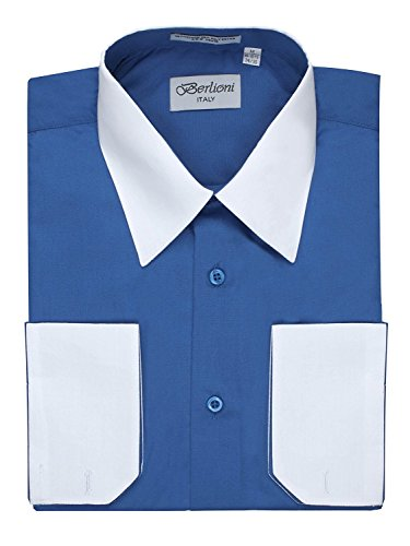 Men's Royal Blue Two Tone Dress Shirt w/ Convertible Cuffs - XLarge 34 /35