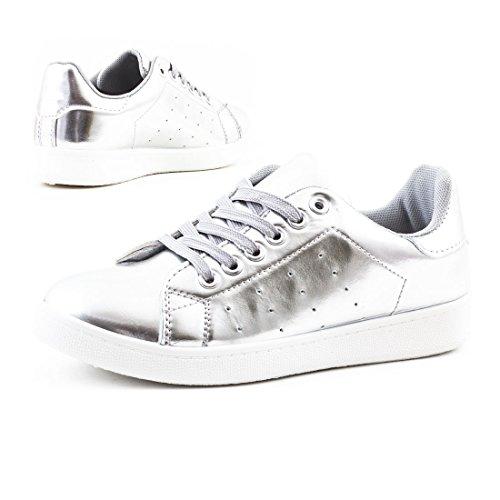 Marimo Super Trendige Vollfarbige Color Damen Schnür Sneaker in Verschiedenen Farben Silber