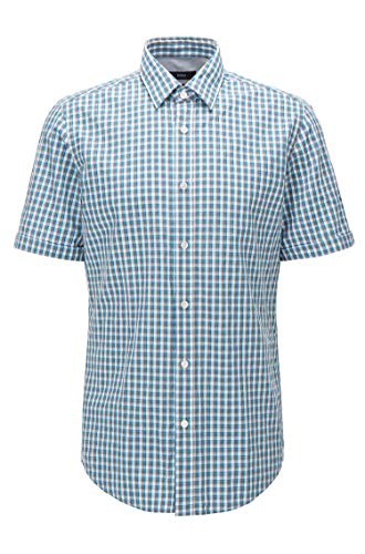 Hugo Boss Men's 'Luka' Regular Fit Checks Short Sleeve Cotton Shirt Large