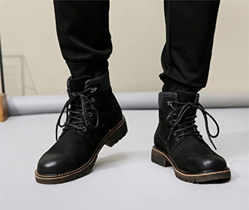 LINYI Winter Martin Boots Men's Boots Plus Velvet Leather England British Fan High-top Tooling Boots blackwithvelvet PSt5fs5XZ