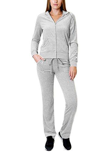 - Basic VELOUR TRACKSUIT Zip Hoodie Jacket and Flare Pants Set M H. Grey