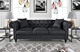 apartment size sectional sofa Divano Roma Furniture Classic Linen Fabric Scroll Arm Tufted Button Chesterfield Style Sofa (Dark Grey)