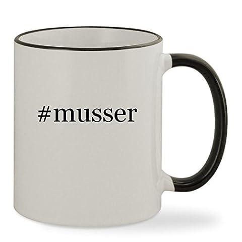 #musser - 11oz Hashtag Colored Rim & Handle Sturdy Ceramic Coffee Cup Mug, Black - Musser Good Vibe