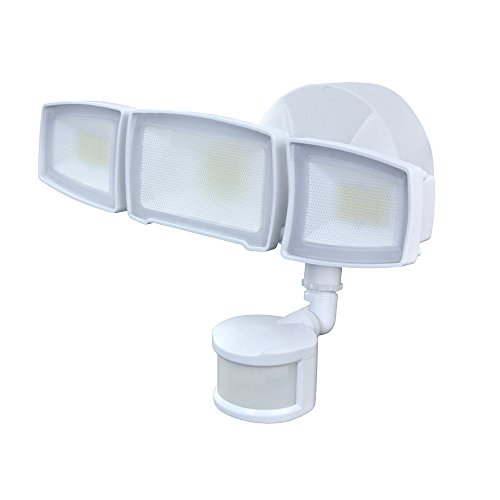Good Earth Lighting Three-Head 2N1 LED Motion Security & Area Light - Bright White Light - 50,000 Hours Lamp Life - Direct Wire Installation - Energy Star -White