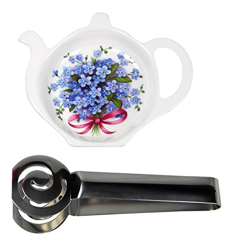 Adderley Bone China Tea Bag Coaster Caddy and Stainless Steel Tea Bag Squeezer England - Forget Me Nots