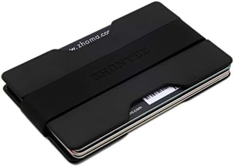 Zhoma Slim Wallet - Minimalist Front Pocket Money Clip & Card Holder