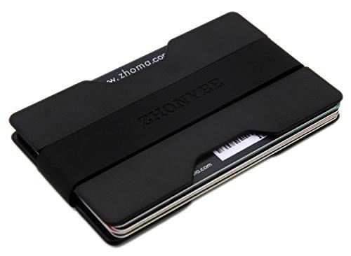 Zhoma Slim Wallet - Minimalist Front Pocket Money Clip & Card Holder - Black