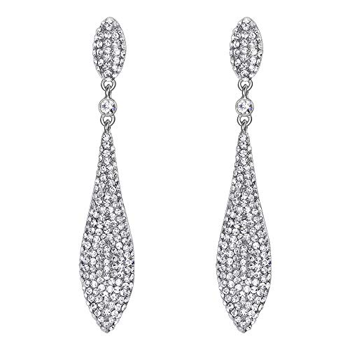 EVER FAITH Women's Austrian Crystal Double Waterdrop Pierced Dangle Earrings Clear Silver-Tone ()