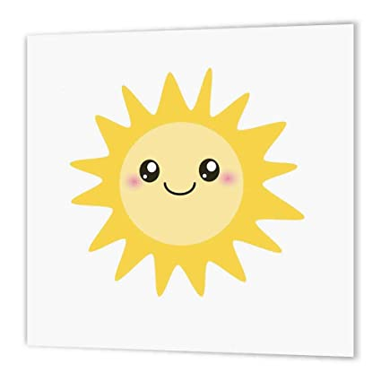 c0f9c88722ab 3dRose ht_113062_2 Cute Happy Sun Kawaii Yellow Sunny Happy Face Summer  Sunshine Smiley on White Kids