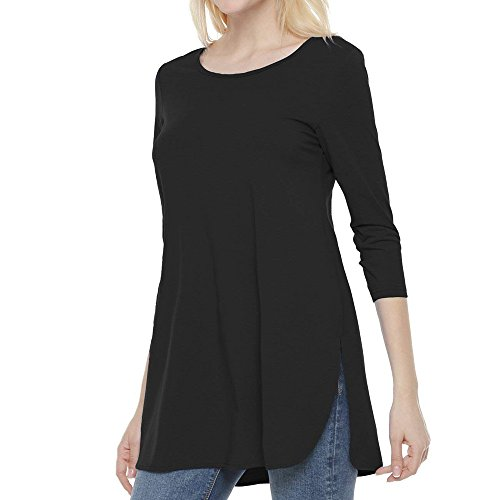 YKARITIANNA Womens Long Sleeve Solid Color Side Slit Tops Ladies Casual Blouse Shirt