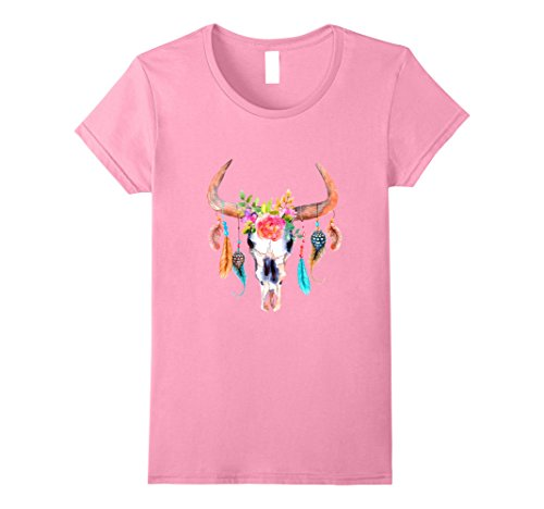 Womens Cow Skull T-Shirt For Women Sugar Flowers Roses Helloween Small (Cow Womens Pink T-shirt)
