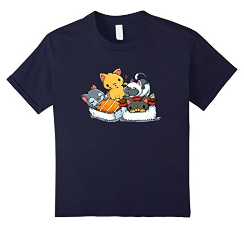 Kids cat love sushi food shirt 4 Navy