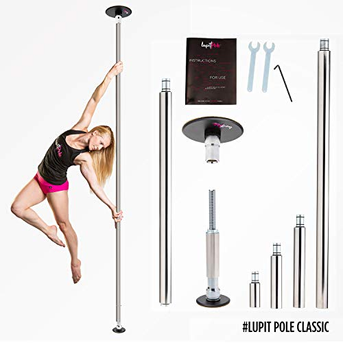 Dance Pole for Home by LUPIT POLE - Classic Model - Stainless Steel, 42mm (1.65in) - Spinning and Static Mode - Studio Portable and Removable Fitness Dancing Pole