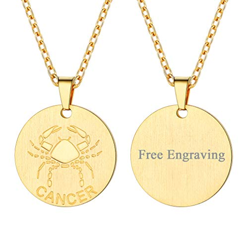 FaithHeart Engraving Astrology 12 Constellation Horoscope Necklace, 18K Gold Plated Cancer Zodiac Star Sign Coin Pendant Necklace Birthday Gifts Lucky Charms Layered Necklace (Gold)