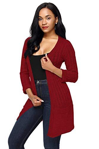 Fashion Cappotto Comodo Autunno Maglia Outerwear Casual Classiche Maniche Elegante Relaxed Tasche Rot Lunghe Donne Leggero Knit Giacca Con Primaverile Lunga A Donna Oqx0n0vC