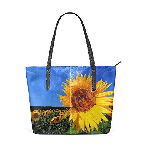 COOSUN Brillante del girasol de la PU de cuero bolso monedero y bolsos de la bolsa de asas para las mujeres Medio muticolour