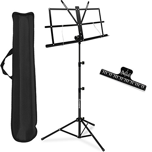 Music Stand, Kasonic Professional Collapsible Orchestra Portable and Light weight with Music Sheet Clip Holder & Carrying Bag Suitable for Instrumental ()