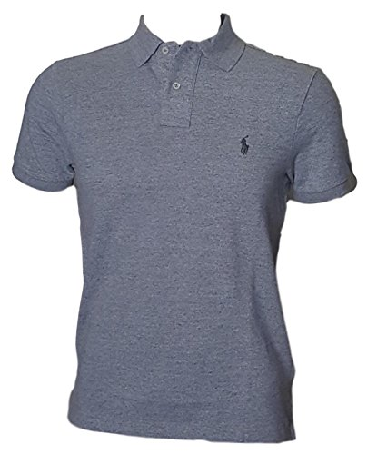 (Polo Ralph Lauren Men Custom Fit Mesh Pony Logo Shirt (XXL, GreyHth) Gray)
