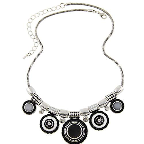 - LIKILACE Metal Enamel Statement Necklace Pendants Jewelry Colar for Gift Party Black