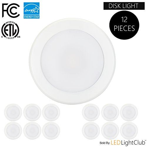 "(12-Pack)- 5/6"" Dimmable LED Disk Light Flush Mount Ceiling Fixture, 15W (120W Replacement), 2700K (Warm White), ENERGY STAR, Installs into Junction Box Or Recessed Can, 1200Lm"