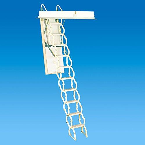 Rainbow M2236 22-1/2''L x 36''W Prestige Telescoping Attic Ladder / Stair: 7'4''H - 9'10''H - WHITE by Rainbow
